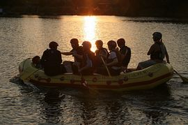 White Water Rafting at Dusk